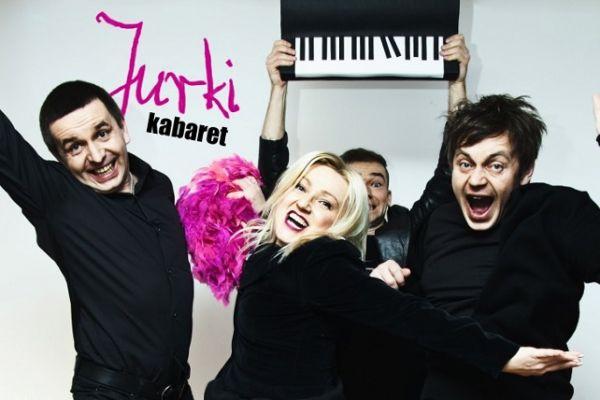 Plakat przedstawiający skład kabaretu Jurki Agniszka _Marylka_Litwin-Sobańska, Znany Wojtek Kamiński, Przemysław _Sazsza_ Żejmo, Marek Litwin